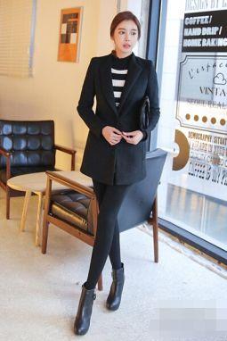 时尚黑色大衣搭配图片 冬季显瘦必备单品