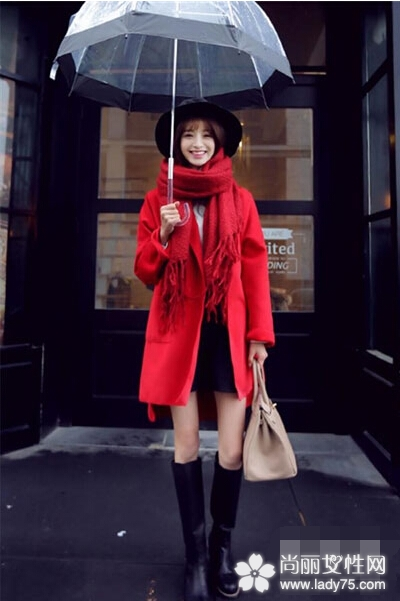 逢年过节红色大衣外套搭配 红红火火过新年2