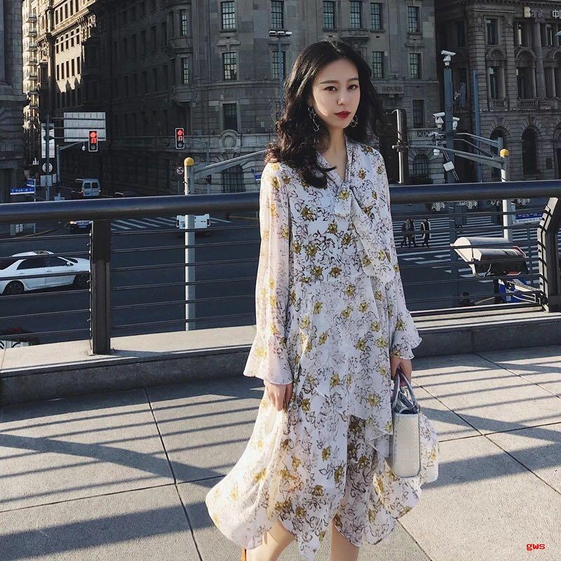 春天到了美美的仙女雪纺裙穿起来