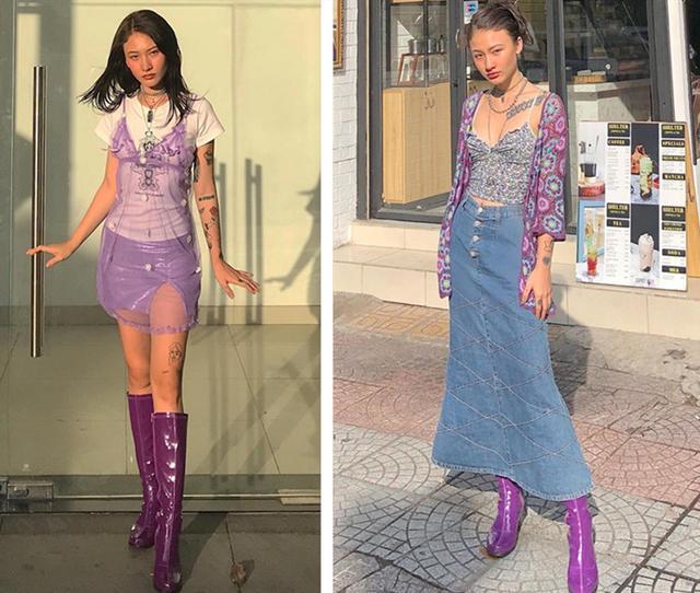 紫色系穿搭 深紫色亮皮長靴