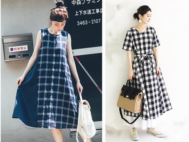 日系简约风格子裙