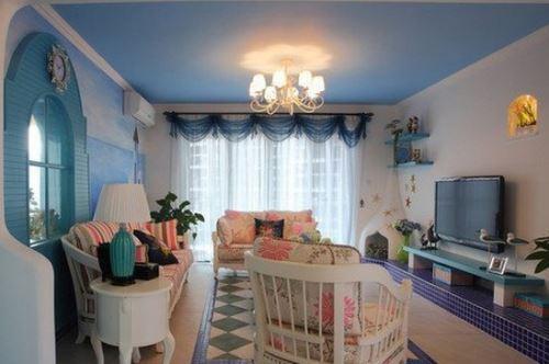 美极了!地中海风格客厅窗帘效果图