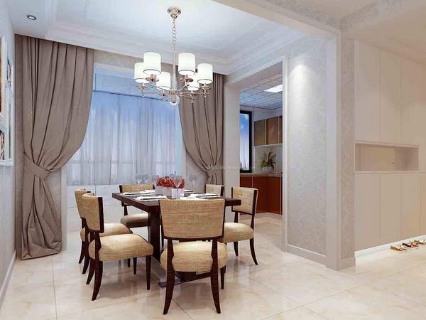 餐厅窗帘效果图欣赏 餐厅窗帘颜色搭配技巧