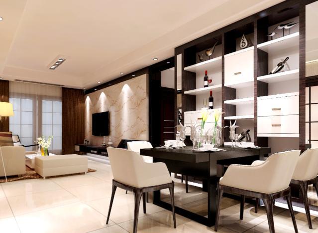 餐桌搭配上白色的椅子,黑色的窗帘有一种压抑感,很有品位