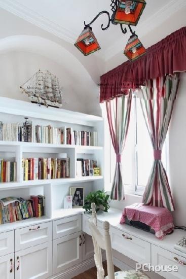美式书房窗帘装修效果图大全