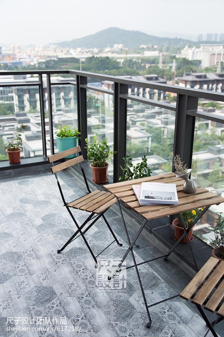 193㎡现代轻奢简约风阳台设计图